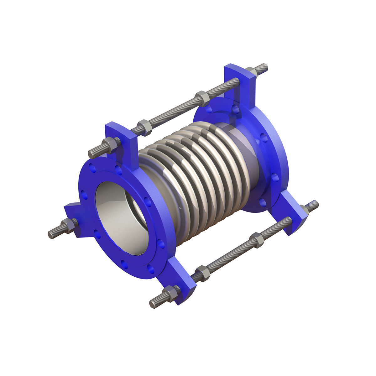 spool type metal bellows expansion joint with support rods